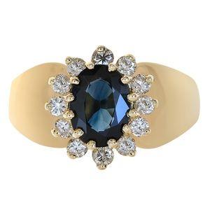 1.35 Carat Sapphire & 0.30 Carat Diamond Ring 14K